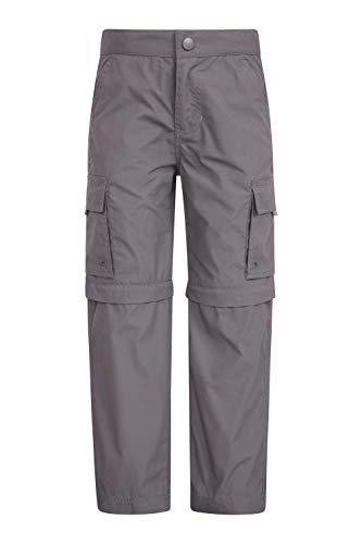 Mountain Warehouse Pantalón Convertible Active para niños - Pantalón Ligero para niños, pantalón de Secado rápido, Bolsillos - para Viajar y Acampada Gris Oscuro 9-10 Años