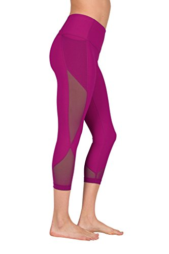 90 Degree By Reflex Women's High Waist Athletic Leggings with Smartphone Pocket - Magenta Haze - X-Small