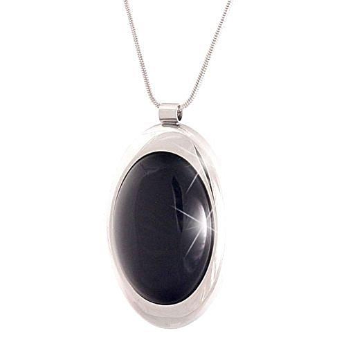Collar de cadena con colgante piedras preciosas negro Agathe negro