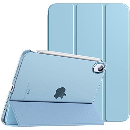 TiMOVO Hülle Kompatibel mit Neu iPad Mini 6. Generation, iPad Mini 6 Hülle(8.3 Zoll, 2021), Transluzenter PC Rückendeckel Hülle Faltbar Magnetisch Auto Schlaf/Wach Unterstützt Touch ID, Himmelblau