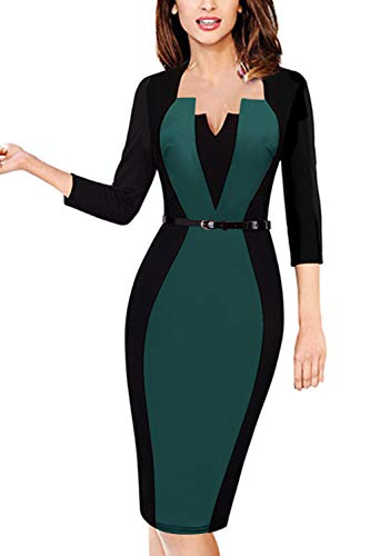 MisShow Damen 50s Vintage Rockabilly Kleid Knielang Pencil Bleistiftkleid Bodycon Etuikleid 3/4 Arm Knielang Grün Gr.4XL