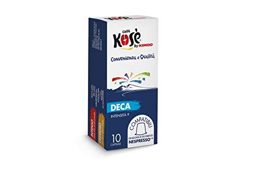 Kosè by Kimbo Capsule Decaffeinato Compatibili Nespresso, 10 Astucci da 10 Capsule (Totale 100 Capsule)