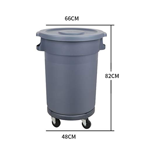 Amazing Deal LXF Outdoor Waste Bins Plastic Sanitation Trash can with Wheel Storage bin Trash can 80...