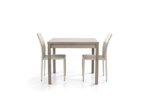 Tavolo quadrato per soggiorno sala da pranzo 90x90 allungabile a 180 cm apribile a libro in finitura Rovere Grigio
