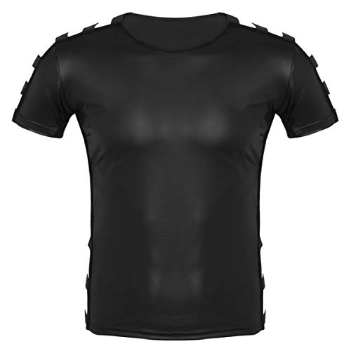 iiniim tee Camiseta Negra Atractivo Hombre Suave Cuero Camiseta Deporte Casual Muscular Elástica Ropa Erótica Manga Corta Clubwear para Adultos