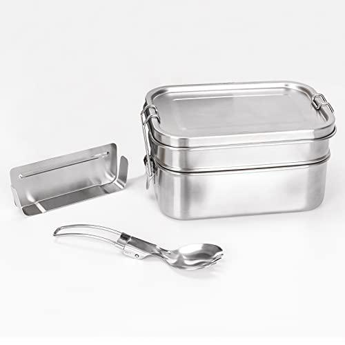 SHUMDHA Premium Fiambrera - Fiambrera Acero Inoxidable con Tabique de Doble Capa BPA-Free - 1340ml Lunch Box ,Contenedores de Alimentos incluyendo Cuchara para niños y adultos,oficina y excursiones