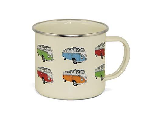 BRISA VW Collection - Volkswagen T1 Bulli Bus Emaille-Kaffee-Tee-Tasse-Becher für Küche, Werkstatt, Büro, Outdoor - Camping-Zubehör/Geschenk-Idee/Souvenir (500ml/Bulli T1 Parade)
