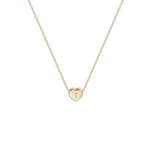 Tiny Gold Initial Heart Necklace-14K Gold Filled Handmade Dainty...