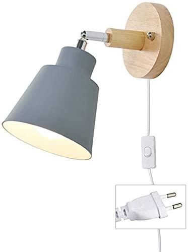 TXSAGL Applique avec prise de câble E27 lampe de lecture de chevet à rotation libre Applique murale d'intérieur avec interrupteur pour chambre à coucher, projecteur de salon (Gris)