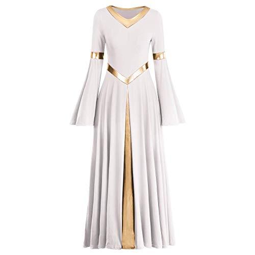 ZX Girls Long Sleeve Praise Dance Dress Full Length Wide Swing Lyrical Dancewear Liturgical Worship Costume