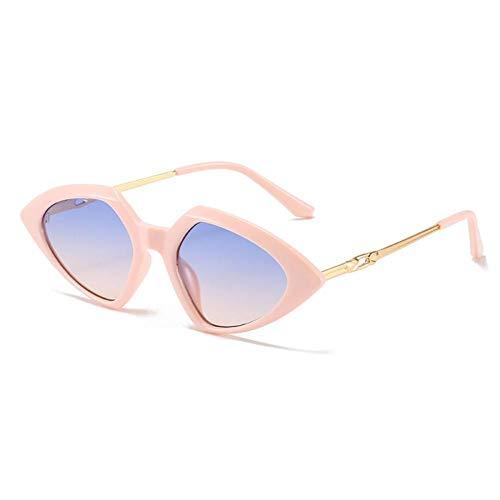 ZZOW Gafas De Sol Triangulares Pequeñas De Moda para Mujer, Gafas De Sol Vintage De Color Caramelo, Gafas De Sol para Hombre, Ojo De Gato, Azul, Rojo, Uv400