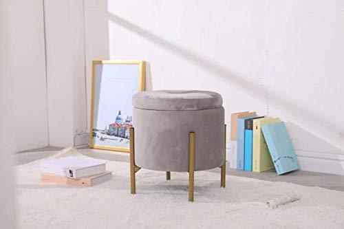 Avior Home Sitzhocker Schminkhocker gepolsterter Hocker Aufbewahrungsbox Abnehmbarer Bezug Metallstütze (Hellgrau, Rund)