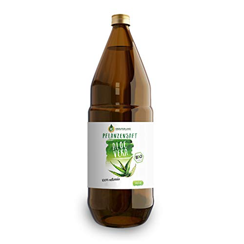 Kräuterland - Bio Aloe Vera Saft - 1 Liter - 100% rein, handfiltriert, vegan, naturtrüb - Direktsaft aus Mexiko in Glasflasche