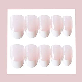MISUD French Fake Nails Oval Nails Full Cover Medium Press-on Natural Artificial False Nails Art Nail Sticker with Pre-coated Glue