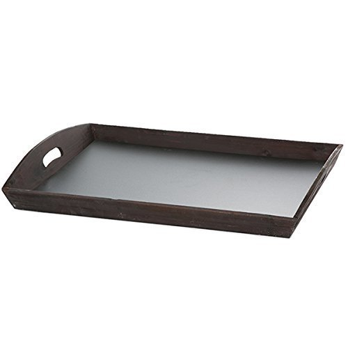 The Lucky Clover Trading Rectangular Tray Chalkboard Base Basket, Brown