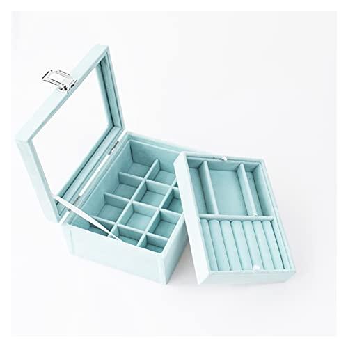 Caja de 2 capas transparente con tapa para anillos, organizador de terciopelo y 12 rejillas para joyas, caja extraíble y almacenamiento para collares y pulseras