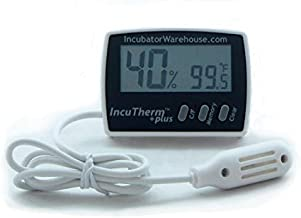 IncuTherm Plus Digital Thermometer/Hygrometer w Min/Max Memory & Remote Probe, Egg Incubators, Large Display, Reads Celsius and Fahrenheit +/-1°, Humidity Reads Accurate +/- 5%, 1109, IWTH01