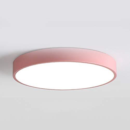 LED-plafondlamp, dimbaar, 24 W, plafondlamp, eenvoud, moderne plafondlamp, rond, creatief, voor woonkamer, hal, keuken, slaapkamer, energiebesparend, 220 V, Ø40 x H 5 cm, roze