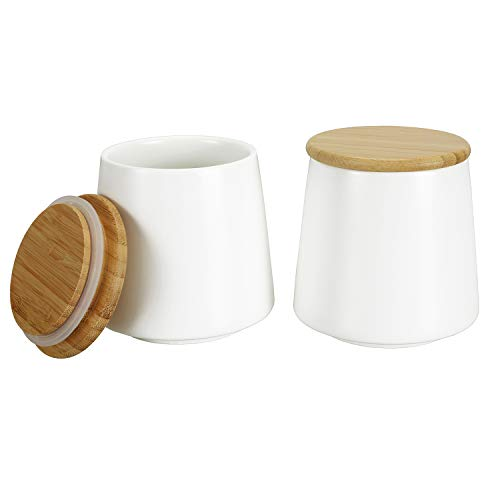 Cedilis 2 Pack Ceramic Kitchen Food Storage Jar with Airtight Bamboo Lid 17 Oz White Storage Canister for Tea Coffee Sugar Spices Flour and More