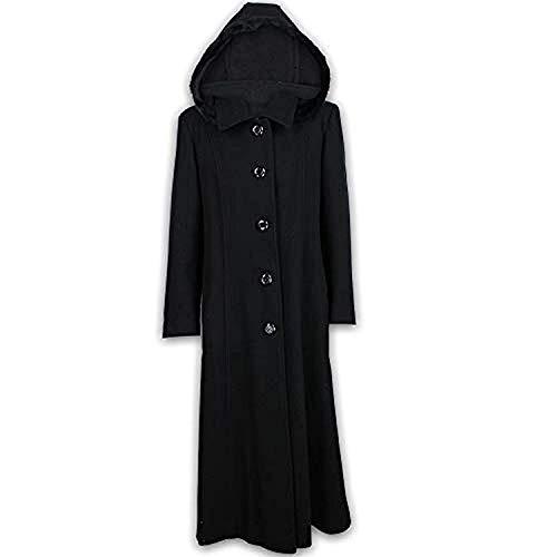 Générique Manteau Femme en Mélange de Laine Cashmere avec Capuche Bordé de Fausse Fourrure Manteau Long Chaud Mode et Neuf - Noir, 40