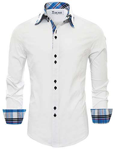 Tom's Ware Mens Trendy Slim Fit Inner Checkered Button Down Shirt TWNMS323S-WHITE-US XL