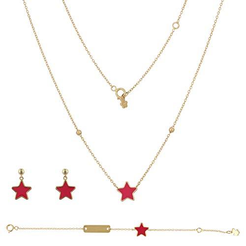 Gioiello Italiano - Parure'Stella Rossa' in oro giallo con smalto; collana, bracciale e orecchini, da bambina