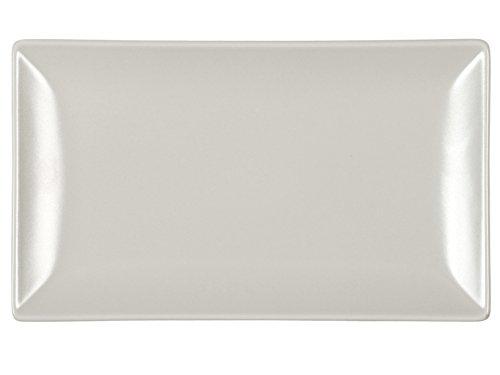 H+H Boston Set mit 6 rechteckigen Tellern, Steingut, Taupe, 25 x 15 cm