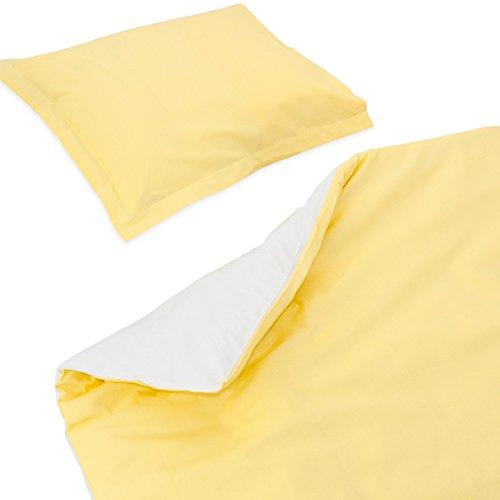 SoulBedroom Baby Jaune & Blanc Linge de lit pour bébé (Housse de Couette 100x140 cm et Taie d'oreiller - 100% Coton)