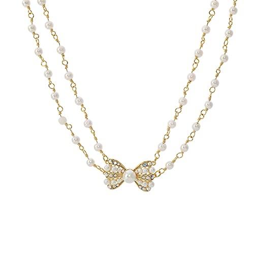 YAZHUANG8 Collar Delicado para Las Mujeres Bowknot Pearl Collar Femenino Sense Sense Sense All-Patch