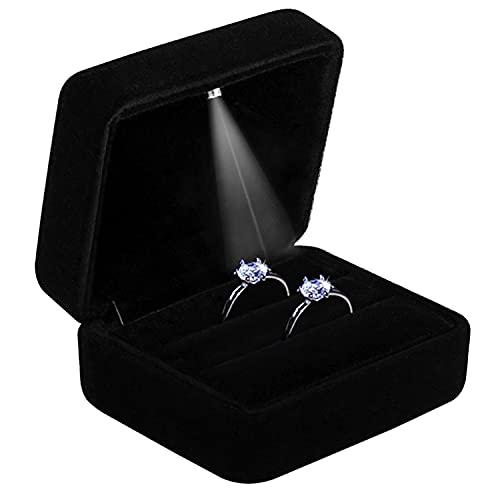 GBYAN Ringschachtel Ring Box mit Led Licht Schwarze Ringetui Samt Schmuck Geschenkbox für Hochzeit