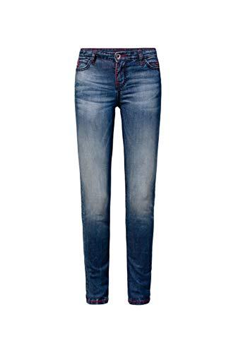 SOCCX Damen Jeans HE:DI mit Used-Optik und farbigen Steppnähten