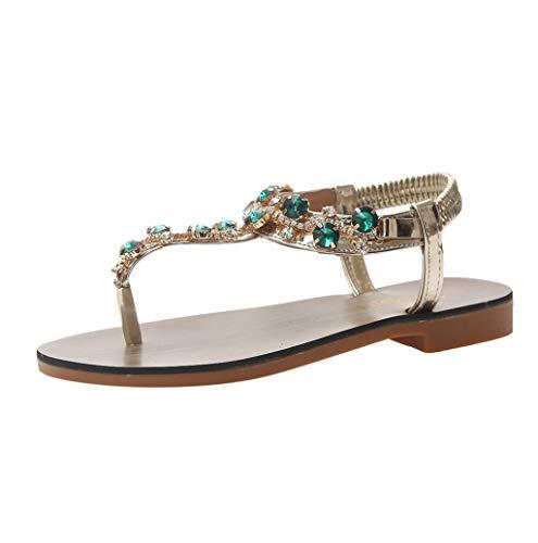 Sandali Donna,Hoopert Bohemien Stile Etnico Eleganti Open Toe Strass Flip Flop Sandali Estivi Scarpe da Spiaggia Sandali Gioiello (38 EU, Verde)