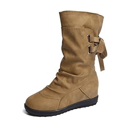 fyasuifdnakfnas Belt Buckle mid Boot Back Strap Flat Martin Boots for Women
