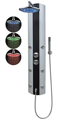 Duschpaneel mit Thermostat Eckmontage und Wandmontage Silber Duschbrause mit 6 Massagedüsen Led Regendusche Handbrause