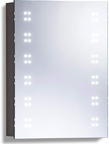 Armoire de toilette pour salle de bain avec miroir lumineux, antibuée, prise pour rasoir, détecteur de mouvement et éclairage LED 70cm(H) x 50cm(l) x 15cm(P) C16