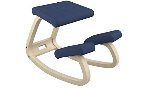 Varier Variable Balans Original Kneeling Chair Designed by Peter Opsvik (Dark Blue Revive Fabric with Natural Ash Base)