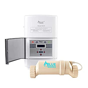 BLUE WORKS Salt Water Pool Chlorine Generator System BLSC Chlorinator Compatible with Hayward Goldline Aquarite Plumbing for 10K Above Ground Pool & Flow Switch   Cell Plates Made by USA Manufacturer
