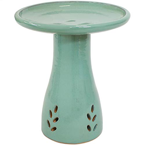 Sunnydaze Classic Outdoor Ceramic Bird Bath - High-Fired, Hand-Painted, UV and Frost Resistant Finish - Patio, Lawn, Garden Decorative Birdbath - Seafoam