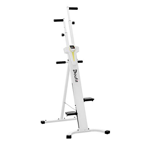 Doufit Vertical Climber Exercise Machine, CM-01 Heavy Duty Folding Climbing Machine for Home Workout, Fitness Stair Climber with LCD Monitor (Max Capacity 220Lbs) (Silver)