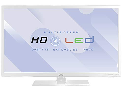 "Trevi LTV 2402 SAT Televisore LED 24"" con Decoder Digitale Terrestre DVBT-T2 e Satellitare DVBS-S2, HEVC 10 Bit, Compatibile Tivùsat, Funzione Hotel, Bianco"