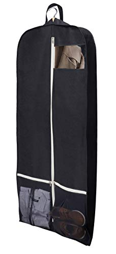 SLEEPING LAMB Breathable 60' Dress Garment Bag with Zipper Shoe Pockets Trifold Hanging Clothes Storage Bags for Long Dresses, Wedding Gown, Suits Black