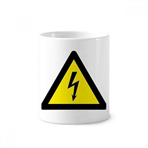 Waarschuwing Symbool Geel Zwart Elektrische Schokdriehoek Keramische Tandenborstel Pen Houder Mok Wit Cup 350ml Gift