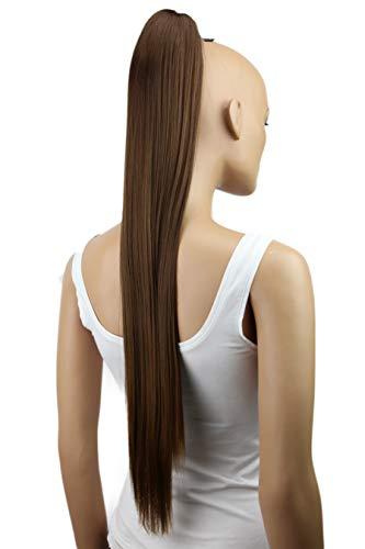 PRETTYSHOP 70cm Haarteil Zopf Pferdeschwanz Haarverlängerung Glatt Braun H163