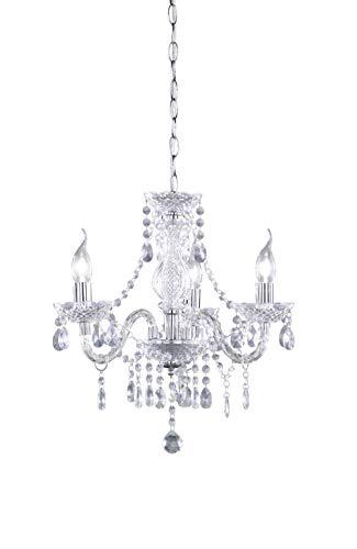 Reality Luster - Lámpara colgante de 3 luces. Necesarias 3 Bombillas E14 de máximo 40W excluidas. Cuerpo acrílico transparente
