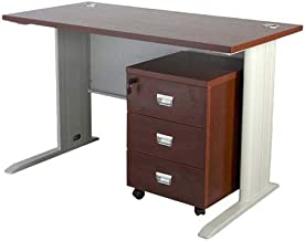 Mahmayi Wood Stazion 1260 Modern Office Desk with Drawers, ME1260APL_d, Brown, H75 x W60 x D120 cm, Require Assembly