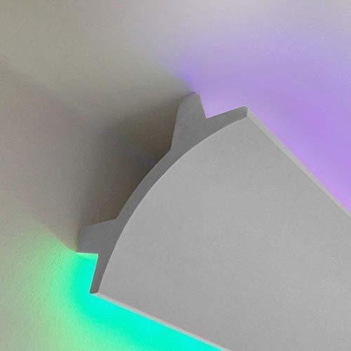 Profilo duro polimero simil gesso alloggio per strip Led incasso o esterno 2mt allungabile verniciabile luce illuminazione indiretta