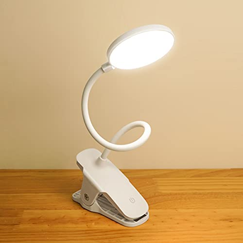 HSLY Lampara Escritorio Pinza con Recargable USB, 14LEDs Lampara de Mesa 360° Cuello Flexible Lampara Lectura 3 Modos de Iluminación 5 Niveles de Brillo Luz Nocturna