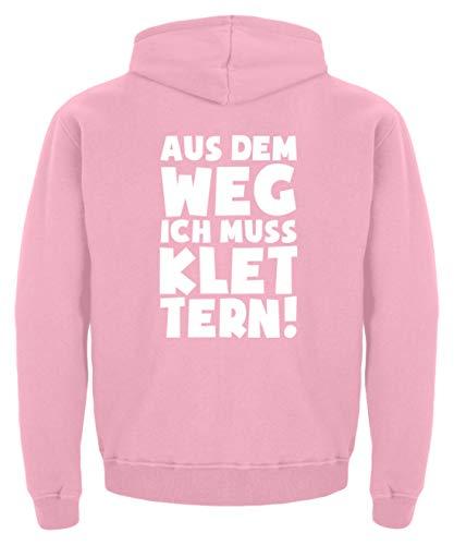 shirt-o-magic Kletterer: Ich muss Klettern - Kinder Hoodie -12/14 (152/164)-Baby Pink