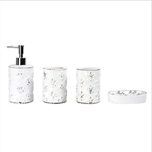 DZX Juego de 4 Accesorios de cerámica para baño, dispensador de jabón para baño, Soporte para Cepillo de Dientes, Plato de jabón, Blanco (tamaño: 4 Piezas), Soporte para Cepillo de Dientes Que Ahorra