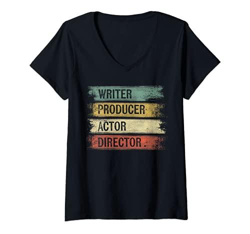 Mujer Escritor Productor Actor Director Regalos Cineasta Cine Camiseta Cuello V